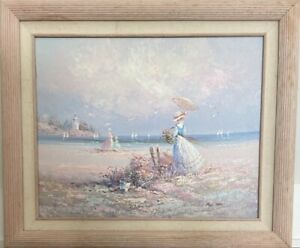 ELEGANT VICTORIAN OIL PAINTING BY MARIE CHARLOT WOMEN ON THE BEACH $250.00