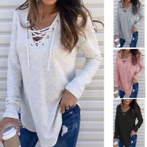 Women V Neck Long Sleeve T Shirt Casual Criss Cross Blouse Loose Drawstring Tops