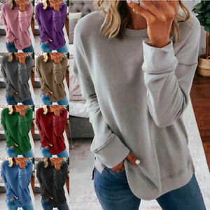 Womens Casual Long Sleeve T Shirt Round Neck Tops Loose Blouse Solid Tunic $13.99