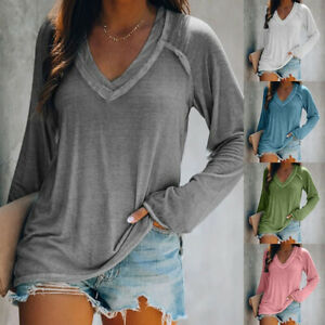 Women Fall V Neck Long Sleeve T Shirt Casual Solid Blouse Loose Tunic Basic Tops $13.99