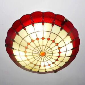Antique Tiffany Style Flush Mount Ceiling Light Stained Glass Lighting Fixture