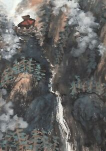 LinLi888 Art ACEO Original Watercolor Painting Waterfall Landscape 20091704 $8.88
