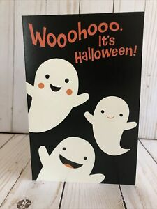 Halloween Kids Card Cute Ghosts Enjoy Spooky Scary Creepy Happy New Free Ship $4.95