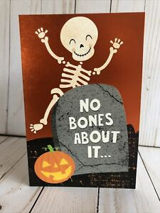 Halloween Kids Card Cute Skeleton Bones Hope Its Fun Across Miles New Free Ship $4.95