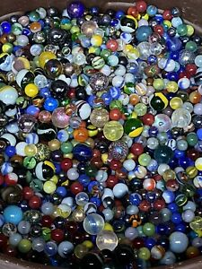 Mixed Lot 40 Assorted Old Vintage To Modern Colorful Glass Marbles GREAT MIX