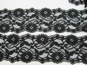 5 yards Elastic Spandex Stretch Black Soft Floral Lace 3quot; inch Wide Sewing T166 $5.85