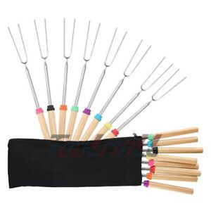40x 32 Extendable BBQ Marshmallow Roasting Sticks Smores Skewers Hot Dog Fork