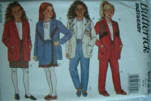 PATTERN Butterick Sewing Girls#x27; Jacket Skirt amp; Pants Size 12 14 NEW OOP Vintage $4.05