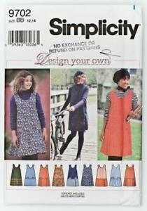 Pattern Simplicity Sewing Girls#x27; Jumper Design Your Own SIZE 12 14 NEW OOP $3.60