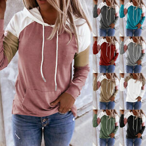 Women Long Sleeve Pullover Casual T Shirt Splice Hooded Blouse Loose Pocket Tops $14.99
