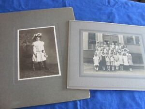 Antique Portraits Class Room Photo 1922; Victorian Girl Cabinet Cards $8.00