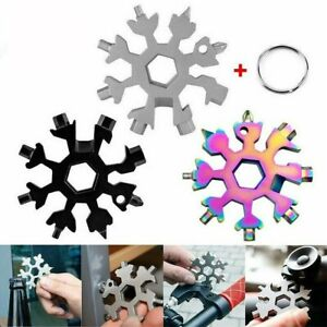 18 In 1 Stainless Multi Tool Portable Snowflake Shape Key Chain Screwdriver US $7.99