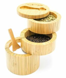 Bamboo Salt Box Salt Holder With Lid And Spoon Bamboo Containers Spice Box $23.80