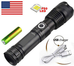 High Power 90000 Lumens XHP50 Zoom Flashlight LED Rechargeable Lamp Torch DA $15.74