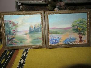 Small ANTIQUE Vintage Framed Original OIL Floral Blue Flowers trees Painting $49.50