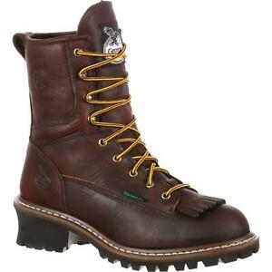 GEORGIA WATERPROOF 8quot; LOGGER BOOTS G7113 Size 7.5 Wide New In Box