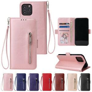 Phone Wallet Strap Flip Stand Case Zipper Leather For iPhone 12 Pro Max 12 Mini