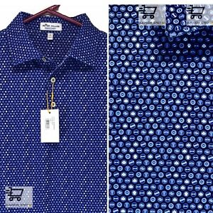 PETER MILLAR Crown Sport Summer Comfort Stretch Golf Polo Caps BLUE⛳️ L LARGE $94.99