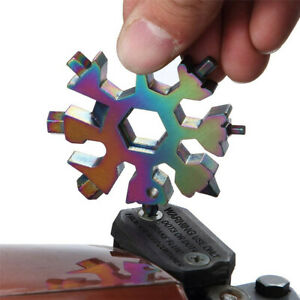 18 In 1 Stainless Tool MultiTool Portable Snowflake Shape Key Chain Screwdriver $2.59