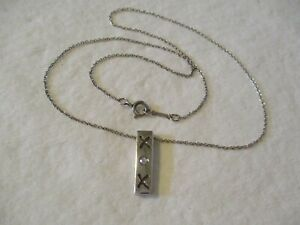 TIFFANY amp; CO. Paloma Picasso STERLING SILVER XOX DIAMOND PENDANT NECKLACE SIGNED