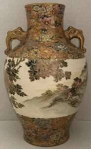 SATSUMA THOUSAND FLOWER HANDLED JAPANESE MARKED ANTIQUE 8 W HANDLES VASE ESTATE