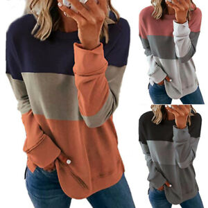 Women Casual Long Sleeve Colorblock T Shirt Blouse Loose Pullover Tunic Tops Tee $13.99