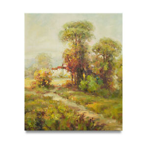 NY Art Thick Impressionist Landscape 20x24 Oil Painting Stretched Canvas $95.95
