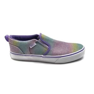 Vans Youth Girls Rainbow Glitter Asher Slip On Sneakers Size 3 $39.00