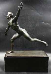 Large Bronze Sculpture Nude Male Olympian Athlete by Anton Weinberger 1912 $4800.00
