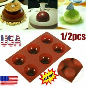 ONE 6 Hole Semi Sphere Round Silicone Mold Hot Chocolate Bombs Cake Baking Mould $11.94