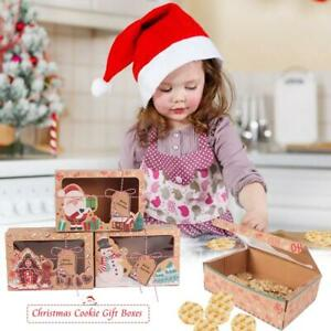 12 24pcs Christmas Cookie Gift Kraft Paper Boxes Clear Window Candy Arts Package $20.55