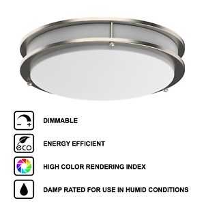 LED Ceiling Flush Mount Silver Brushed Nickel Ring 12 14 16 Integrated Lights
