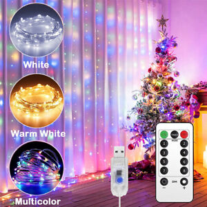 300 LED Curtain Fairy Lights USB String Light W Remote Party Wedding Christmas $8.94