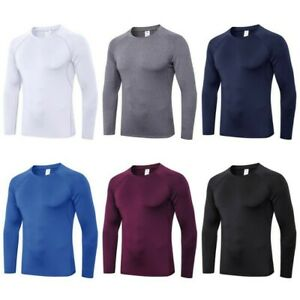 Mens Compression Quick Dry Shirt Base Layer Sports Tight Top Long Sleeve Tops $13.99