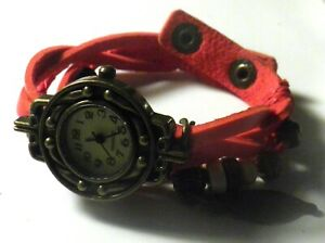 Red Faux Leather Snap Yik Fung Snap Watch Wristwatch Bracelet Beads Charms 7 8quot;