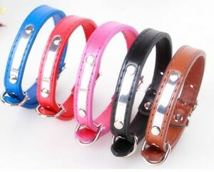 PU leather Dogs Collar Adjustable Pets Neck Strap Shinning Metal Puppy Supplies