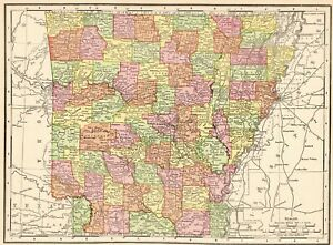 1901 Antique ARKANSAS State Map Vintage Map of Arkansas Gallery Wall Art 8337
