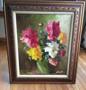 Vintage VIctorian OIL PAINTING FLOWERS Signed A. MEGYERY Early To Mid 1900's $2500.00