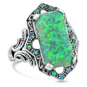 VICTORIAN ANTIQUE STYLE INTENSE GREEN LAB FIRE OPAL 925 SILVER RING SIZE 8 #460 $34.99