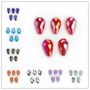 Bulk Glass Crystal Charm Teardrop Spacer Loose Beads DIY Jewelry Finding 10x15mm