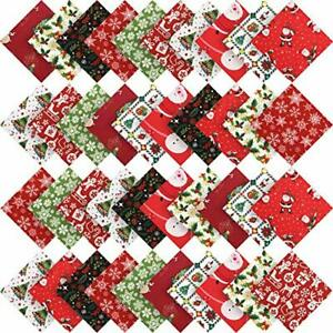 50 Pieces Christmas Cotton Fabric Square Quilting Fabric Squares Bundle Sewing $23.20