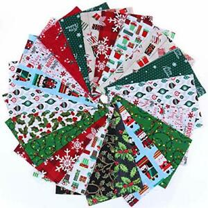 20 Pieces Cotton Fabric Christmas Fabric Bundles Sewing Square Fabric Scraps Chr $30.34