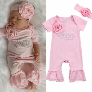 Newborn Baby Girl 3D Flowers Romper Bodysuit Jumpsuit Headband Outfit Clothes $10.99
