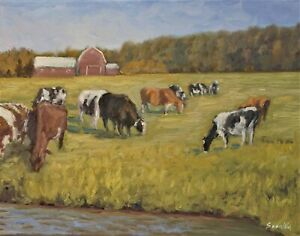Sean Wu original oil painting 14x18 on stretched canvas cow farm $69.00