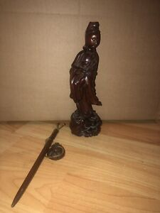 Chinese Wood Guanyin And Bronze Pen $15.00