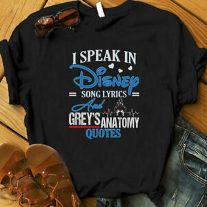 I Speak In Disney Song Lyricsamp; Grey  Anatomy Quote T shirt Christmas For Lovers