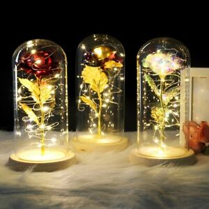 Crystal Colorful Gold Rose Flower in glass dome LED Valentine#x27;s Romantic Gift $18.88