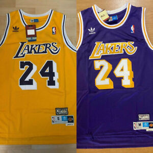 MENS YOUTH Kobe Bryant #24 Los Angeles Lakers Throwback GOLD PURPLE Sewn Jersey $28.99