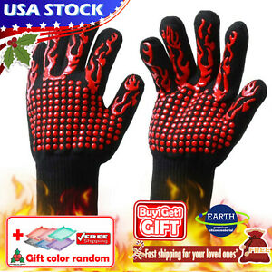 1Pair 800°F Silicone Extreme Heat Resistant Cooking Oven BBQ Hot Grilling Gloves $7.99