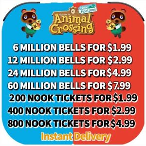 Animal Crossing:New Horizons Bells Nook Miles Tickets Fish Bait Fast Delivery $14.99